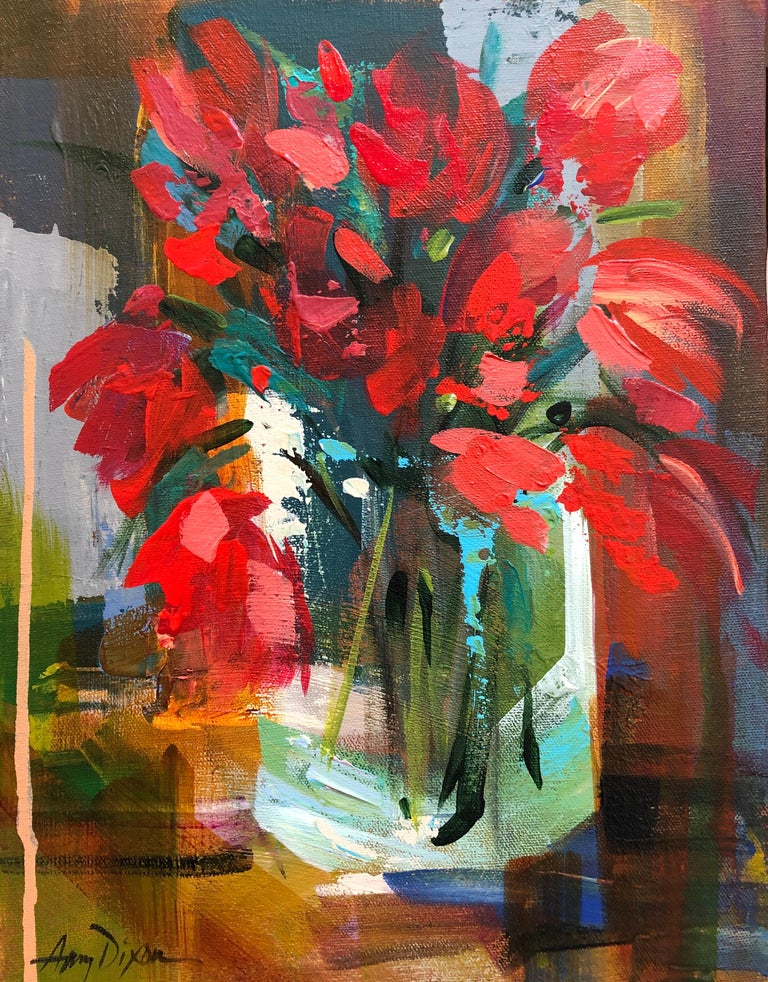 'Key to Her Heart' is a small abstracted acrylic on canvas floral painting of vertical format, created by American artist Amy Dixon in 2019. Featuring a vivid palette made of red, green, ochre and blue colors, this petite painting depicts a lovely