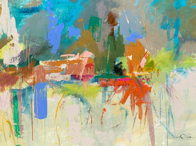 'Let There Be Light' is an abstract acrylic and ink on canvas painting created in 2020 by American artist Amy Dixon. Featuring a horizontal format, this painting showcases a palette made of a variety of colors that include greens, turquoises and