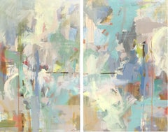 Mindful Diptych, Pair of Acrylic and Ink on Canvas Abstract Paintings