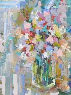 Our Lady No. 2 by Amy Dixon, Vertical Abstract Floral Acrylic on Canvas Painting