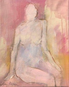 Pink and Poised, Small Acrylic on Canvas Abstract Nude Painting