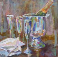 Treat Yourself by Amy Dixon, Abstracted Oil on Canvas Still-Life Square Painting