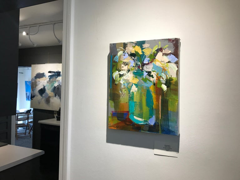 Verde Vase by Amy Dixon, Small 2019 Abstract Floral Acrylic on Canvas Painting For Sale 1