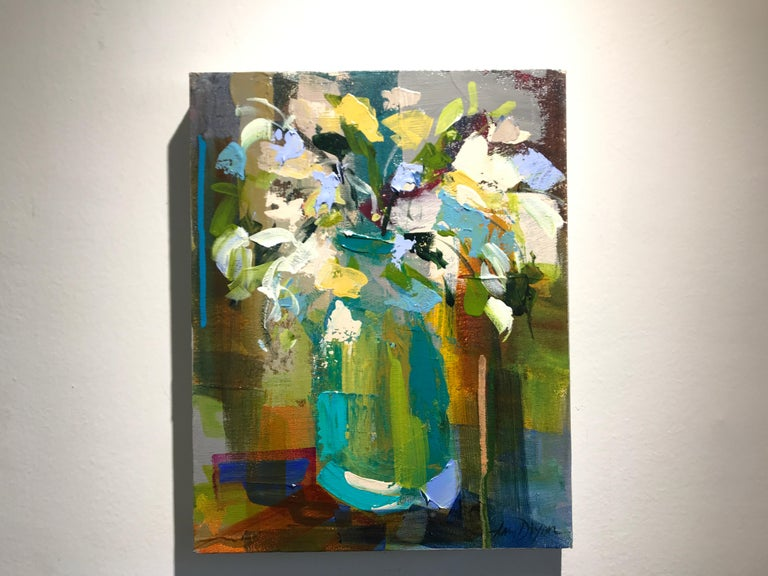 Verde Vase by Amy Dixon, Small 2019 Abstract Floral Acrylic on Canvas Painting For Sale 2