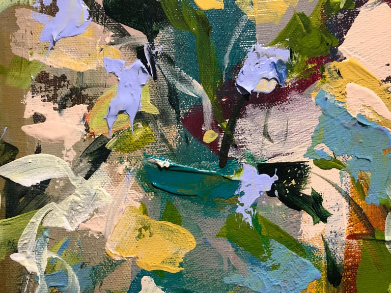 Verde Vase by Amy Dixon, Small 2019 Abstract Floral Acrylic on Canvas Painting For Sale 5