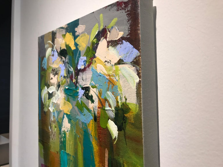 Verde Vase by Amy Dixon, Small 2019 Abstract Floral Acrylic on Canvas Painting For Sale 6