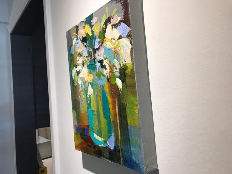 Verde Vase by Amy Dixon, Small 2019 Abstract Floral Acrylic on Canvas Painting For Sale 7