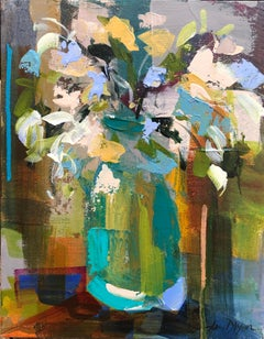 Verde Vase by Amy Dixon, Small 2019 Abstract Floral Acrylic on Canvas Painting