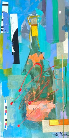 Veuve Art Collage by Amy Dixon, Abstract Still Life Acrylic on Canvas Painting
