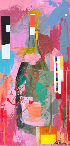 Veuve Pink Dance Collage by Amy Dixon, Abstract Still Life Canvas Painting
