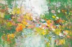 'Gardens of Glory', large abstract green, yellow and orange oil painting