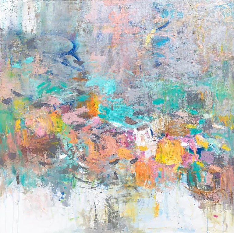 "Amy Donaldson Landscape Painting - ""River of Peace,"" Abstract Painting"