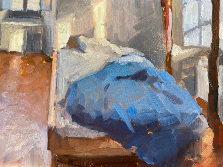 Bedroom Interior - Brown Still-Life Painting by Amy Florence