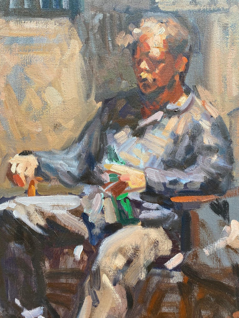 Portrait of Ben Fenkse - Impressionist Painting by Amy Florence