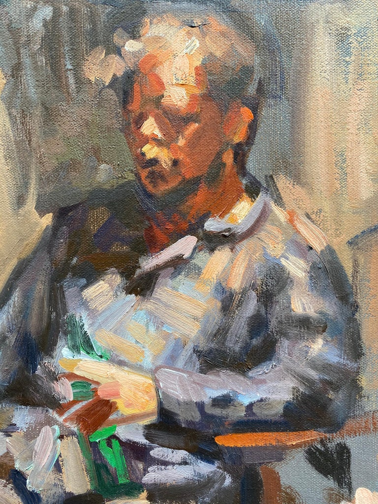 Portrait of Ben Fenkse - Purple Portrait Painting by Amy Florence