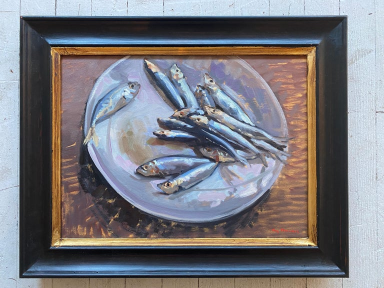 Sardines on a Plate - Painting by Amy Florence