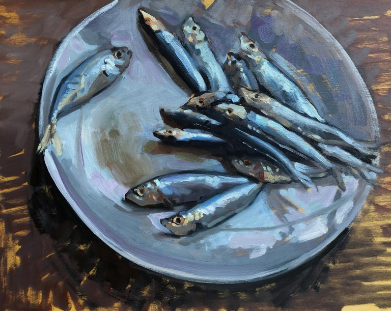 Amy Florence Animal Painting - Sardines on a Plate