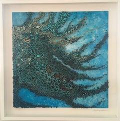 Boneyard, Water, Dimensional artwork, blue, framed, acrylic, quilling