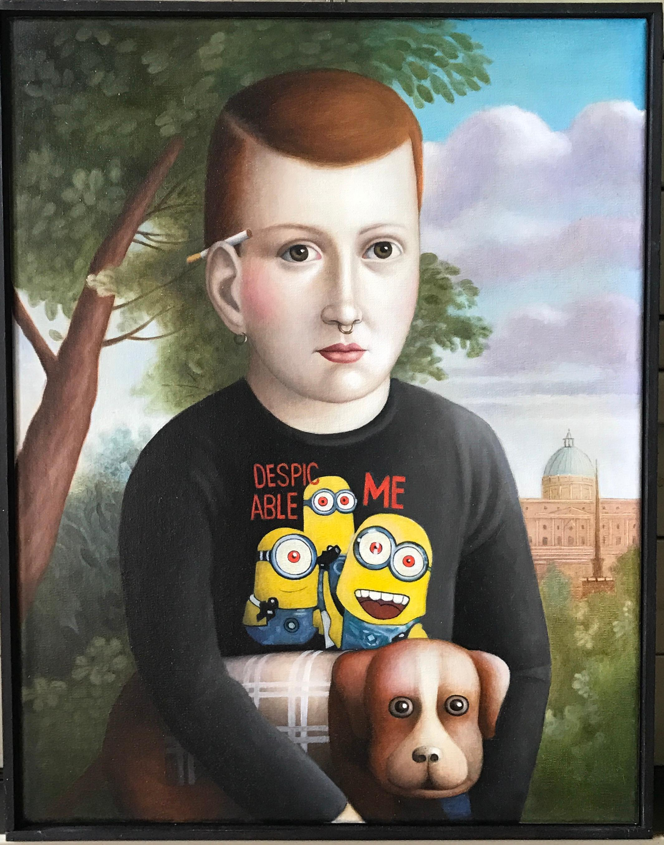"""""""Boy With Dog"""" Contemporary Oil Portrait in American Folk Art Style"""