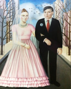 """""""Bride and Groom"""" contemporary oil portrait in early American style"""