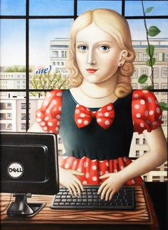 "Contemporary Renaissance Portrait ""Girl with Computer"" oil on canvas"