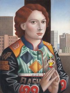 "Contemporary Renaissance Portrait, ""Woman in JH Sports Jacket"" oil on panel"