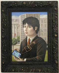 """Man with IPad"" Contemporary Renaissnace Style Portrait, oil on panel, framed"