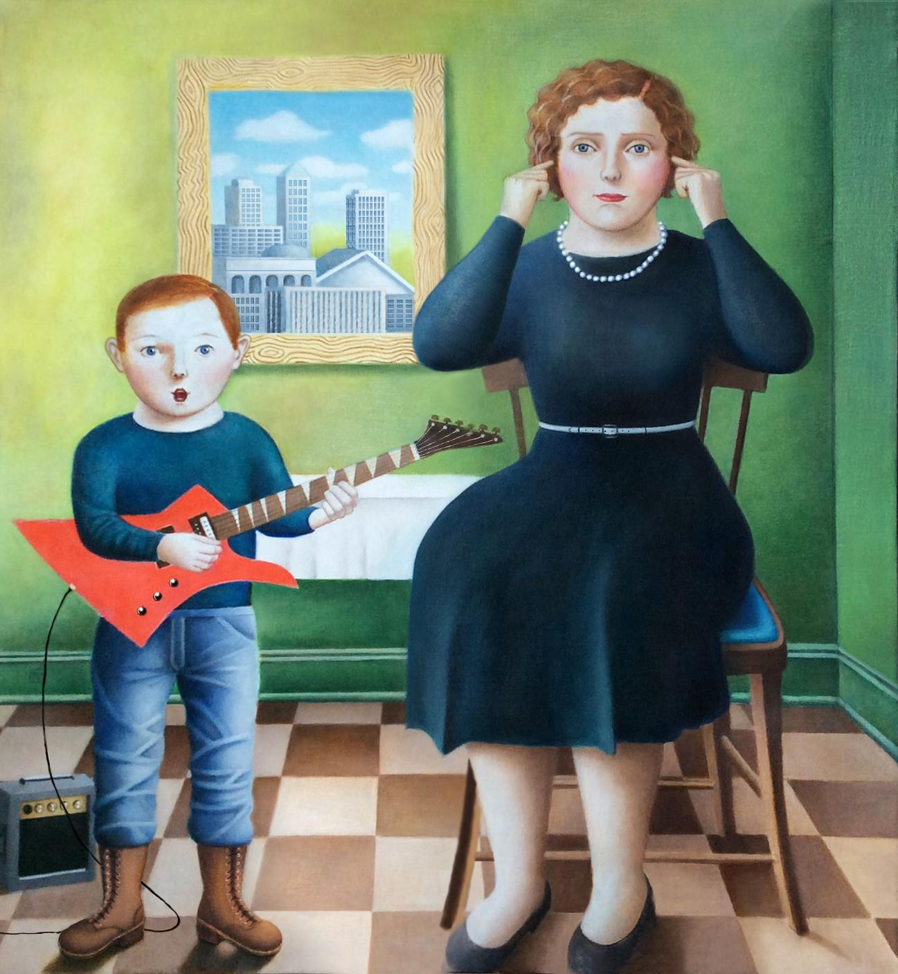 """""""Mother and Kid"""" Two Figure Portrait, Contemporary Folk Art"""