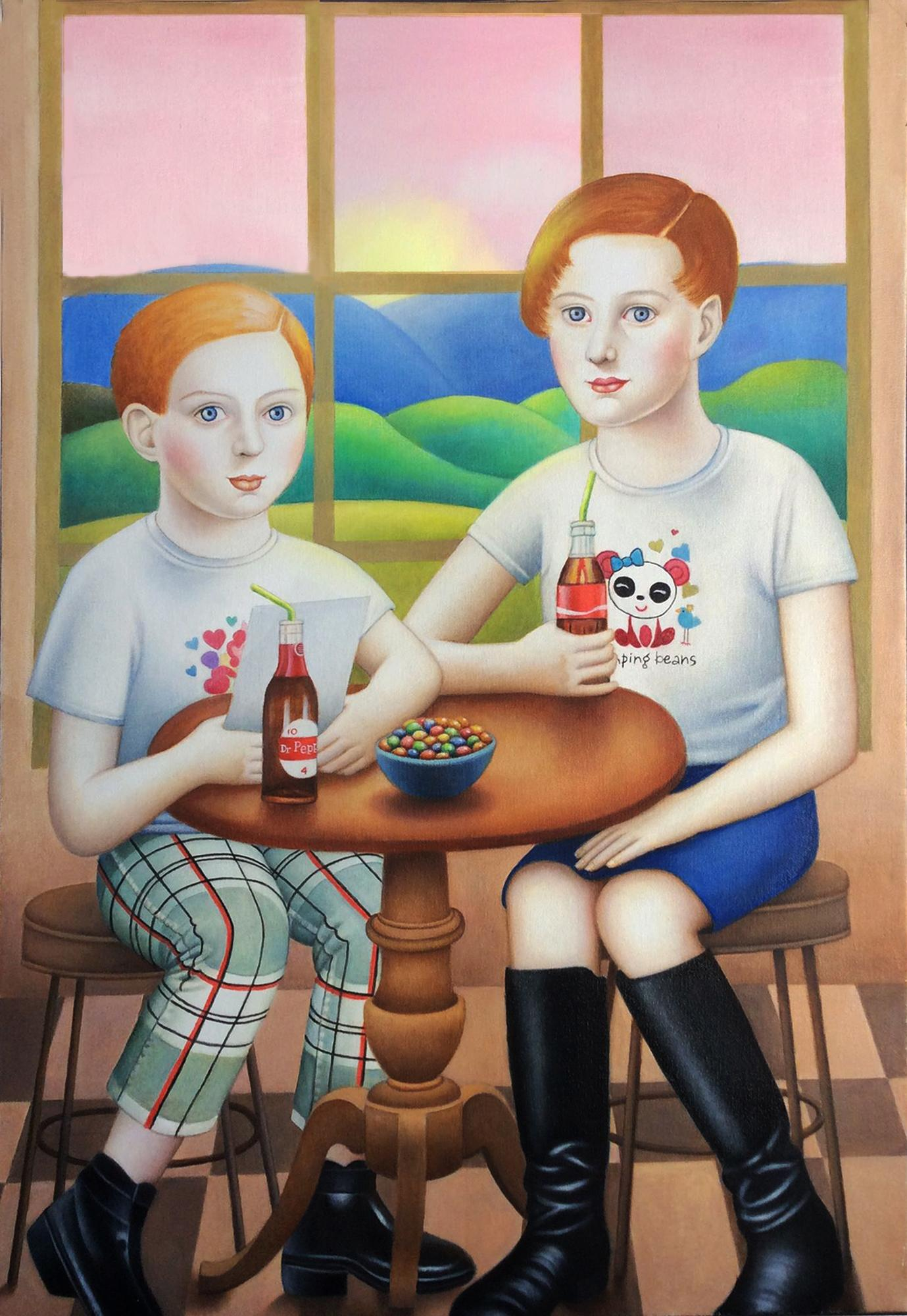 """""""Two Girls at a Table"""" Contemporary Double Portrait in Early American Style"""