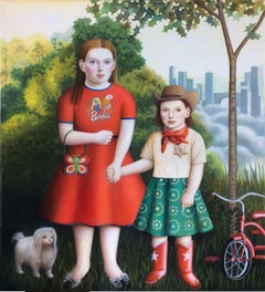 """Two Girls, Dog and Bicycle"" contemporary oil portrait in early American style"