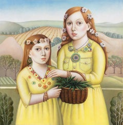 """Two Girls in Yellow"" Contemporary Renaissance Double Portrait"