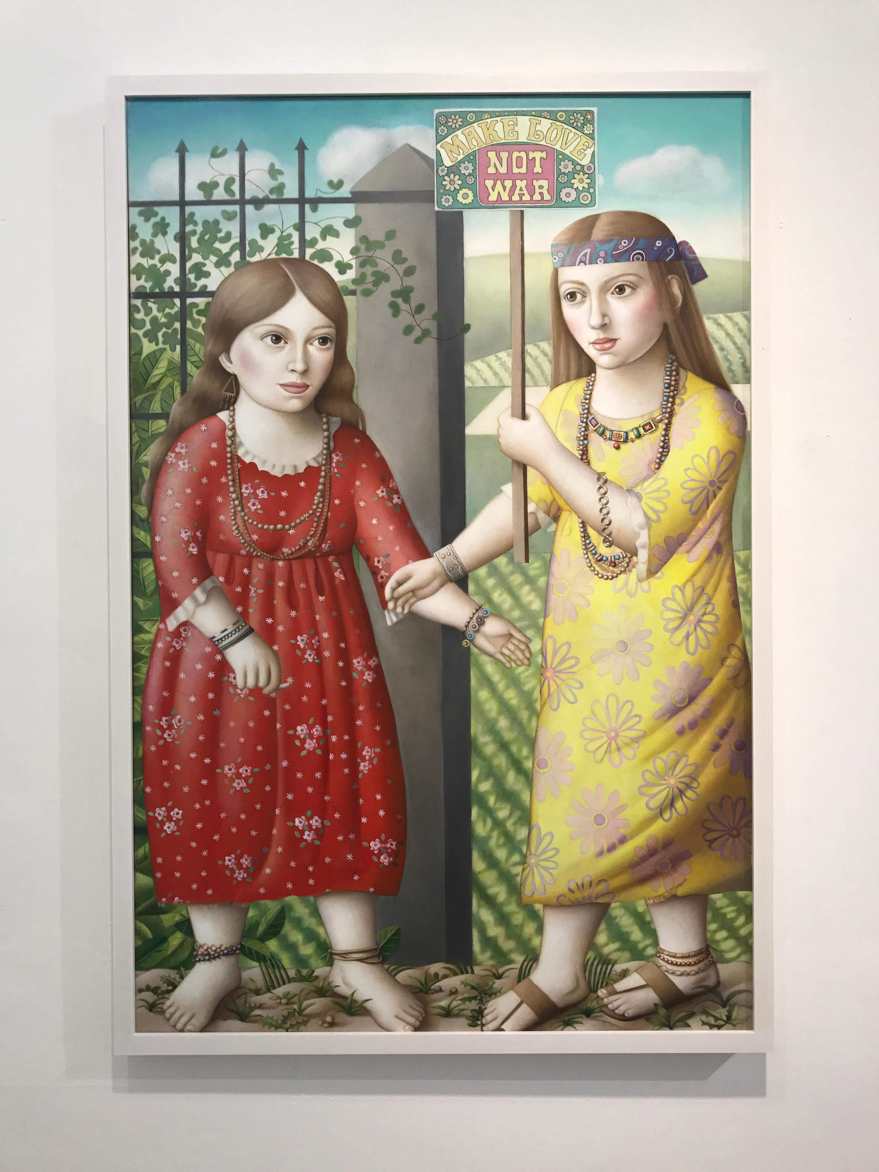 """""""Contemporary Renaissance Double Portrait,  oil painting """"Two Girls with Sign"""""""