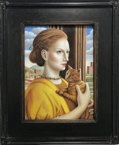 """'Woman with Cat"""" Contemporary Renaissance Style Portrait, oil on panel framed"""