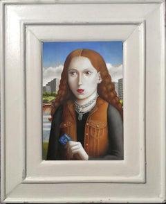 Woman with Credit Card, Contemporary Renaissance oil painting portrait