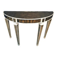 Amy Howard Mirrored Demi-Lune Console Table