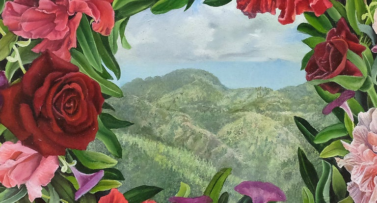 Beyond, surrealist botanical and landscape oil painting, 2020 - Surrealist Painting by Amy Laskin