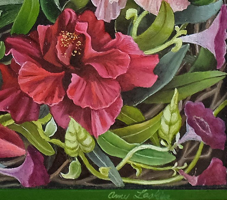 Beyond, surrealist botanical and landscape oil painting, 2020 - Brown Landscape Painting by Amy Laskin
