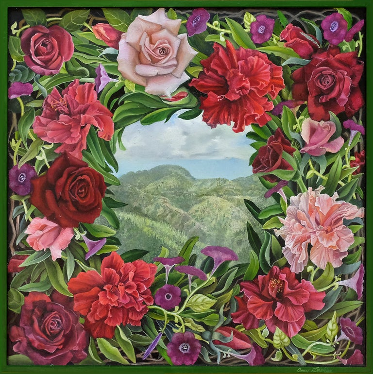 Amy Laskin Landscape Painting - Beyond, surrealist botanical and landscape oil painting, 2020