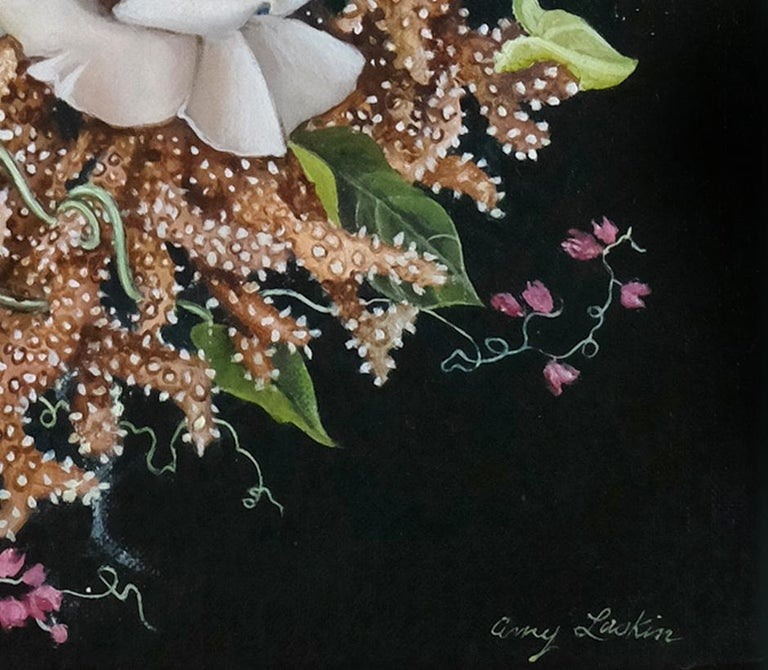 Coral Wreath, surrealist pink and orange botanical oil painting, 2020 - Painting by Amy Laskin