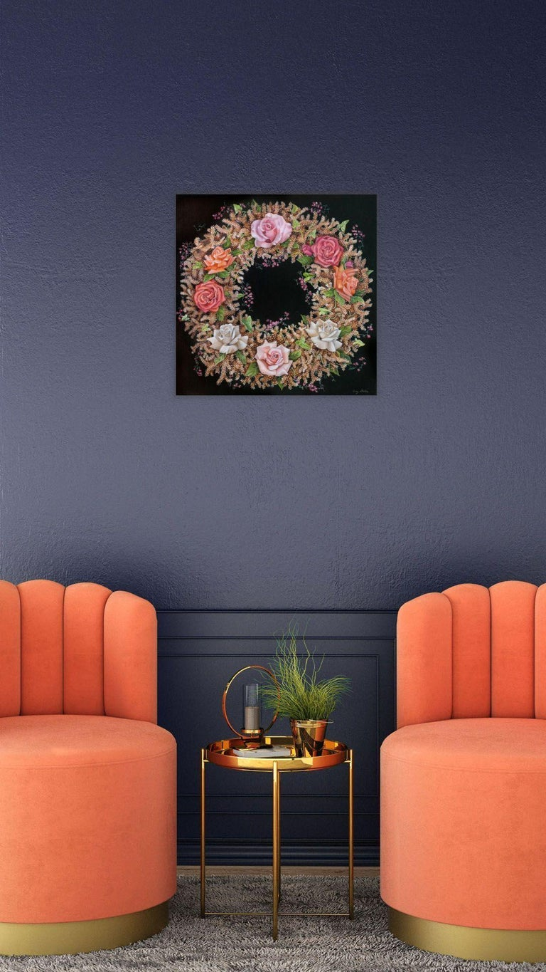 Coral Wreath, surrealist pink and orange botanical oil painting, 2020 - Surrealist Painting by Amy Laskin