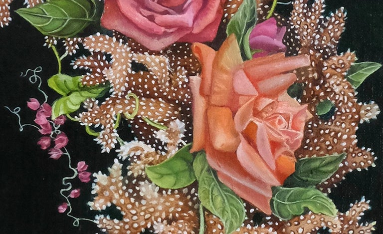 Coral Wreath, surrealist pink and orange botanical oil painting, 2020 - Black Landscape Painting by Amy Laskin
