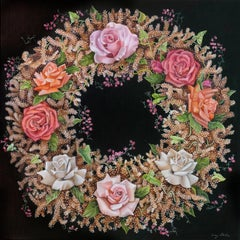 Coral Wreath, surrealist pink and orange botanical oil painting, 2020