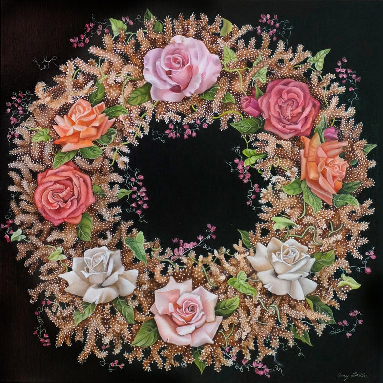 Amy Laskin Landscape Painting - Coral Wreath, surrealist pink and orange botanical oil painting, 2020