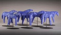 Blue Mud Herd (set of 7) (ceramic, sculpture, horses, crackle glaze, color)