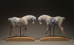 Sun and Moon (sculpture, horses, ceramic, steel)