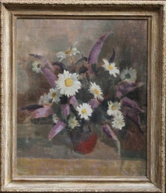 Daisies - British Impressionist art 1940s still life floral oil painting flowers