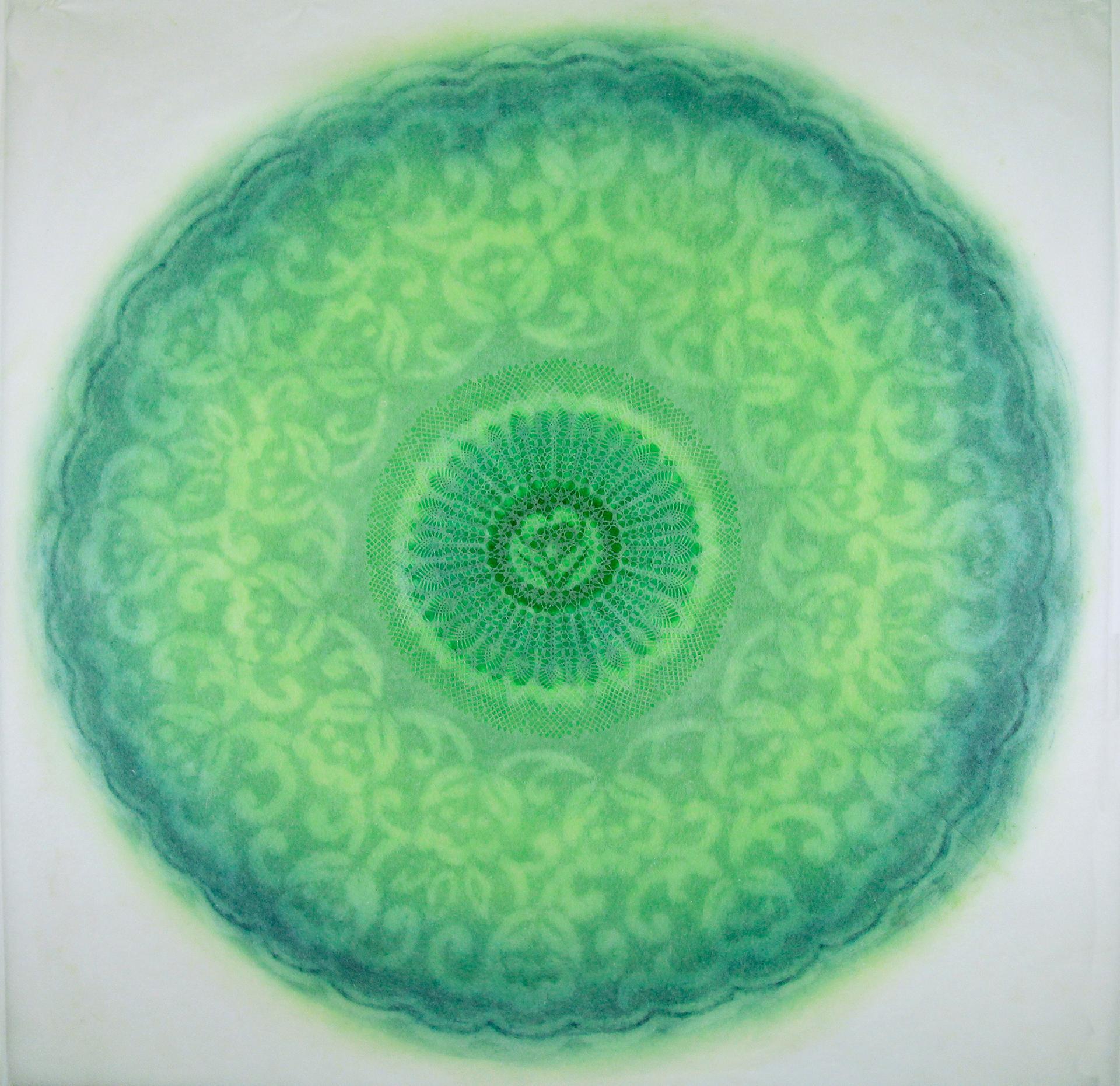 Revolution XXVII - green intricate lacey lasercut abstract geometric circle