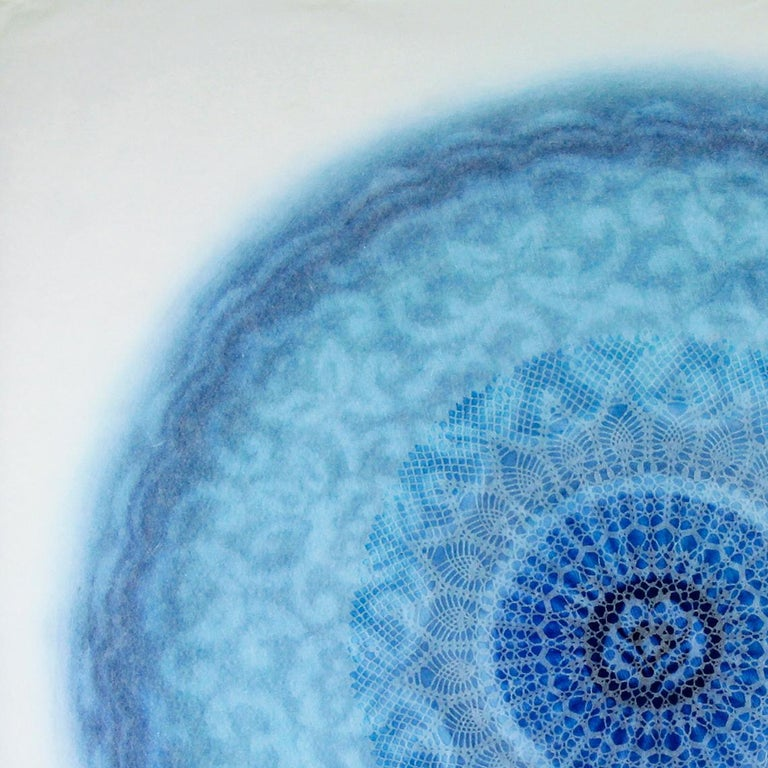 Revolution XXVIII - blue intricate lacey lasercut abstract geometric circle  - Contemporary Mixed Media Art by Amy Sands