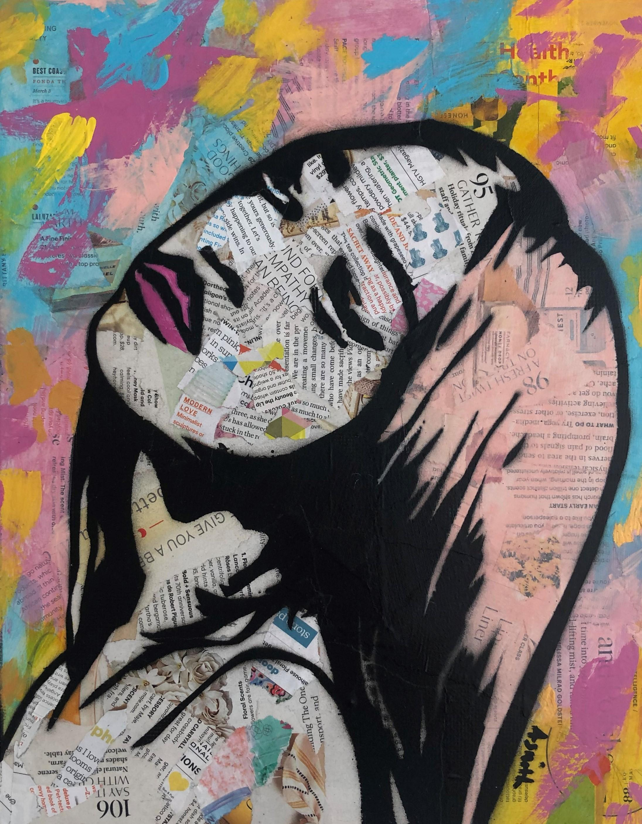 Bold and Colorful- Street Art Portrait of Black Woman Pink + Blue + Yellow