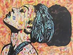 """Breathless""-Magazine Collage, Acrylic & Spray Paint on Canvas"